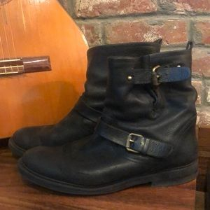 Perfect black leather J Crew moto boots